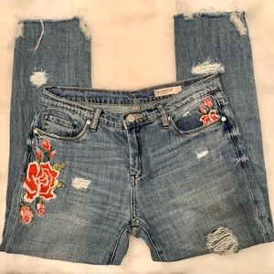 BLANK NYC Embroidered Distressed Fray Jeans 27